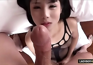 Downcast Thai Ladyboy Hope Oral-sex Added to Masturbation