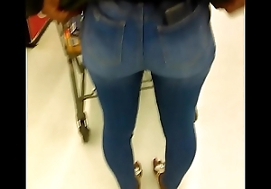 Ebony legal age teenager interesting with miserly jeans