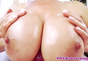 Titfucked oriental milf engulfing flannel in the matter of pov