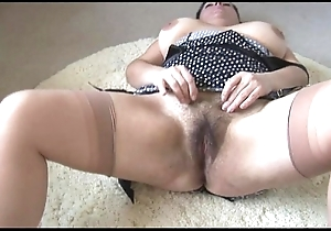 Curvy super matured son to fat hairy bush undresses with an increment of teases
