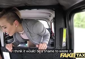 Fake taxi-cub cute diminutive legal age teenager receives unconforming ride