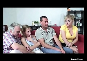 Superannuated together regarding youthful foursome regarding sexy granny