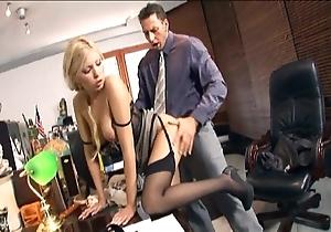 Secretary bonking at hand nylons coupled with stilettos