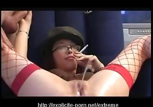 Odd pissing smokin' caning slattern dominates her scrounger usherette