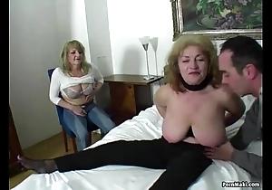 Unlucky guy copulates three stunning grannies