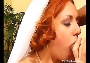 Czech redhead bride drilled