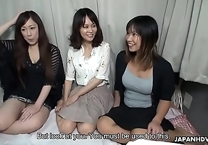 Four asian bimbos fucked on a crammer erratically creamed