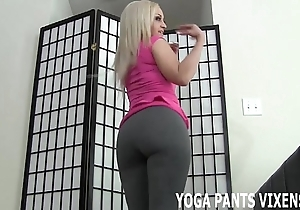 Those yoga panties really fondling my hairless bawdy cleft joi